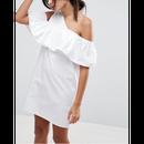 One Shoulder Ruffle Front Shift Dress (ワンショルダーラッフルサンドレス)