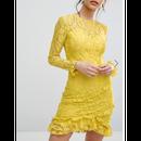 Lace Asymmetric Frill Detail Bodycon Dress (アシンメトリー レースフリルワンピ)