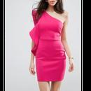 Favorite Scuba Fabric With One Shoulder Ruffle  Dress (ホットピンクワンショルダーワンピース)