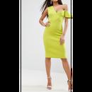 PREMIUM Scuba One Shoulder Bardot Midi Dress (プレミアムスキューバ素材 ミディワンピ)