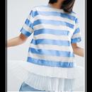 Stripe Pleat Hem Top (プリーツヘム付きストライプトップス)