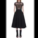 Flower Lace Blouse Midi Dress In Black (ミモレ丈 ブラックシアーフラワーレースブラウスワンピ)