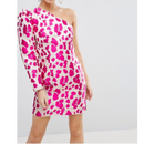 80's Mini One Shoulder Dress In Pink Leopard (80's ピンクレオパード ワンショルダーワンピ)