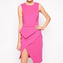 【Back In Stock!!1点のみ再入荷】Hot Pink  Lady Peplum Asymmetric Dress(ピンクアシンメトリーペプラムワンピ)