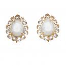 【SALE】¥26,800→¥16,900 24KT Gold White Moon Stone Tear Drop Erring  (24金ムーンストーンドロップ イヤリング) /Bounkit