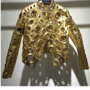 【代引き不可】2色 Gold Eyelet Leather Jacket (ゴールドハト目付きレザージャケット)