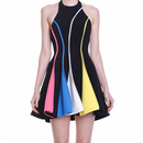 "A-Line Crepe Dress In Multi Colors ""Cindy"" (Aラインマルチカラーワンピ ""シンディー"")"