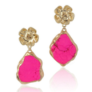 【予約販売!!】18K Gold Dipped Hot Pink Jasper Stone Earrings