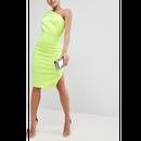 One Shoulder Fold Scuba Dress In Neon (ネオンカラー・ワンショルダーフォルドスキューバーワンピ)