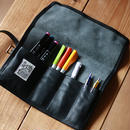 【THE SUPERIOR LABOR】leather roll pen case(black)