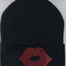 Lip Beanie(black)  Mikwuu オリジナル ニット帽