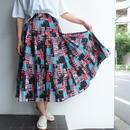 Pin pleats print skirt