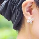 アジサイ【L/オフカラー】4枚花弁のピアス/イヤリング 14kgf
