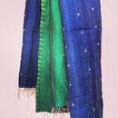 silk kantha shawl blue &green