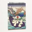 リングメモ帳 猫  一富士ニ鷹三茄子 猫託 クラフト紙 ノート