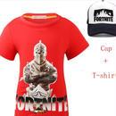 フォートナイト fortnite 子供服  Tシャツ キャップセット  ユニセックス カジュアル半袖Tシャツ トップス  レッド