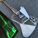 美品 エレキギター カスタム アクリル LEDライト 光る 本体 クリア 透明 白ホワイトピックガード 40インチ
