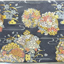 046BL-LWM-A 金襴 流水に花の丸 黒  (約18.5cm×12.5cm御朱印帳対応)