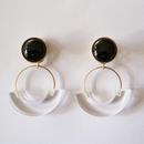 七宝semicircle_black pierce/earring