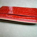 レディスLファスナーウォレットイタリーカーフクロコ型押し 赤