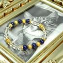 ラピスラズリ6ミリ、水晶6ミリ、ロンデル金具、金具