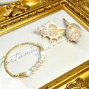 コットンパールホワイト8ミリ、ハウライト8ミリ、ロンデル金具、透かし金具