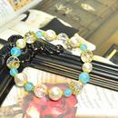 コットンパールホワイト、カット水晶、シーブルーカルセドニー、花座金具、花金具
