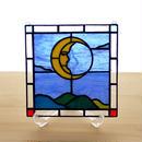 ステンドグラス ミニパネル 月 15cm
