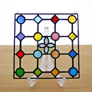 ステンドグラス ミニパネル ドットB白 15cm