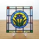 ステンドグラス ミニパネル フラワー・青サークル 15cm