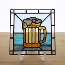 ステンドグラス ミニパネル ビール 15cm