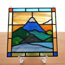 ステンドグラス ミニパネル  雪の富士山 15cm