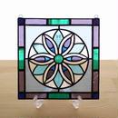 ステンドグラス ミニパネル 花模様 青 15cm