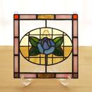 ステンドグラス ミニパネル 青バラ 15cm