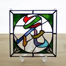 ステンドグラス ミニパネル 花 15cm