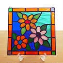 ステンドグラス ミニパネル 3色の花 15cm