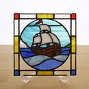ステンドグラス ミニパネル 帆船 15cm