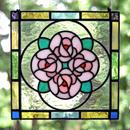 [オーダー品] ステンドグラス ミニパネル ブーケ ピンク 15cm