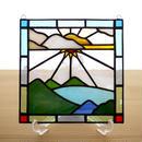 ステンドグラス ミニパネル レイク 15cm