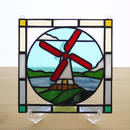 ステンドグラス ミニパネル 風車 15cm