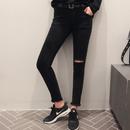 Fringe skinny denim black☆