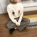 ピープル刺繍ニット/アイボリー