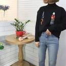 *予約販売*ピープル刺繍ニット/ブラック