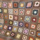 Wool*モチーフつなぎのブランケット/ひざ掛け*brown multi