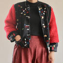 Black Kasuri Kimono & Vivid Red Fur Short Jacket (no.228)