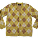60's Arrow Argyle Pattern Knit Cardigan (M) アロー アーガイルパターン モヘア ニット カーディガン