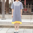 """NEW"" Lilou&Lily border tee one-piece dress off white×navy"