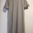 """NEW"" Lilou&Lily border tee one-piece dress mocha×white"