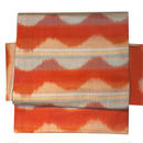 【京・木棉 乙】オリジナルリバーシブル作り帯 オレンジ 波模様 木綿 古布