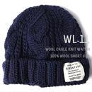 WL-11 (Short Ver)ウール100% ケーブルニットワッチ BIGWATCH  ネイビー